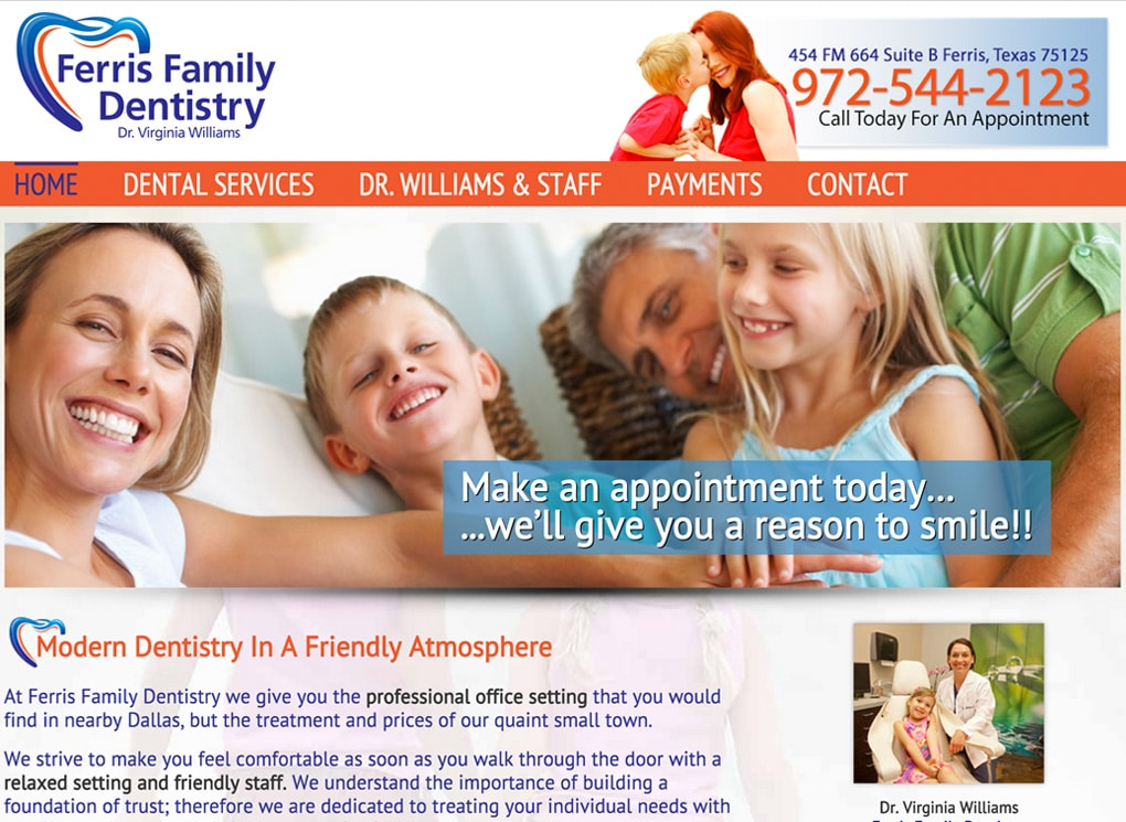 Ferris Family Dentist Small Business Website