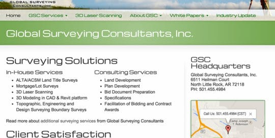 Global Surveying Small Business Website