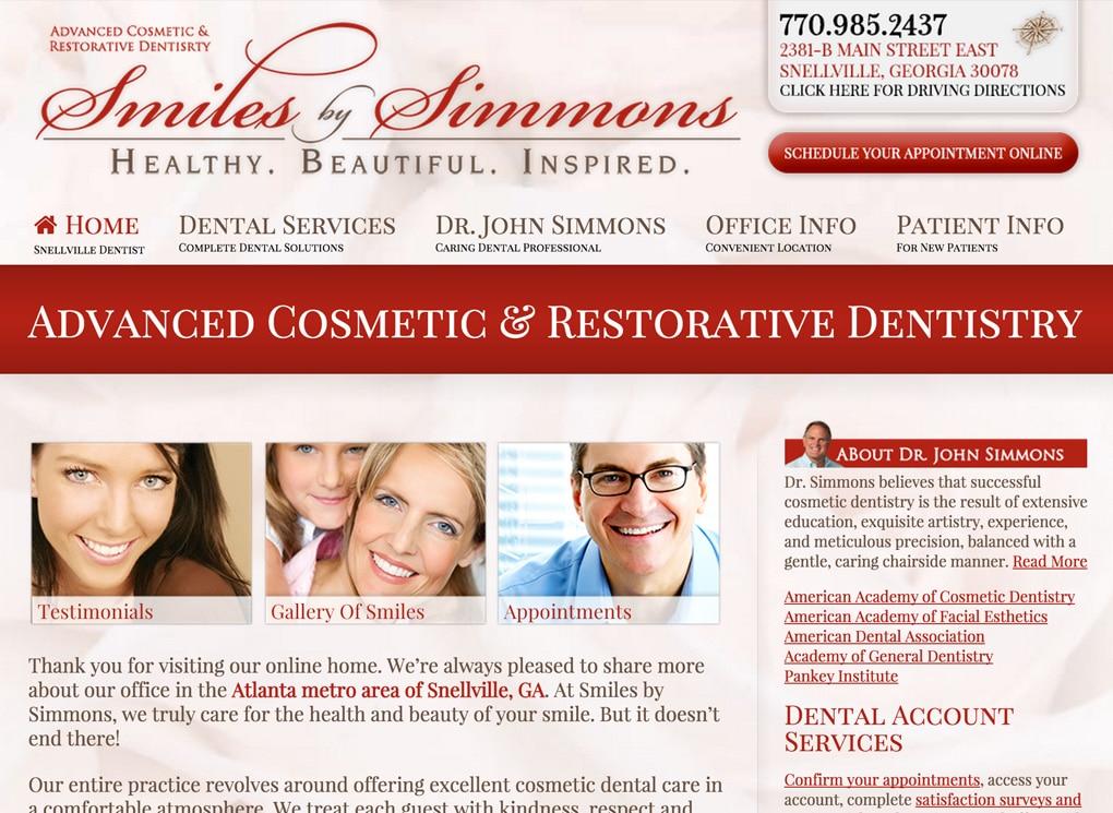 Smiles By Simmons Small Business Website Design Portfolio