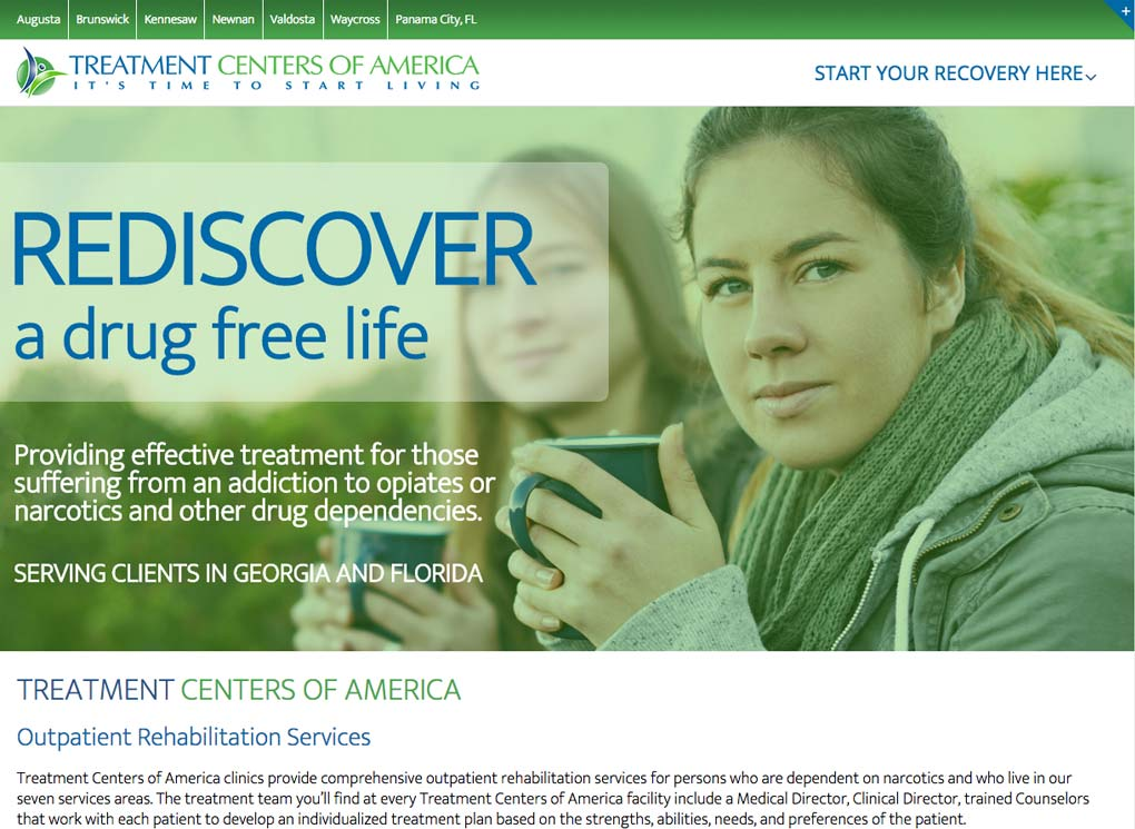 Treatment Centers of America Small Business Website