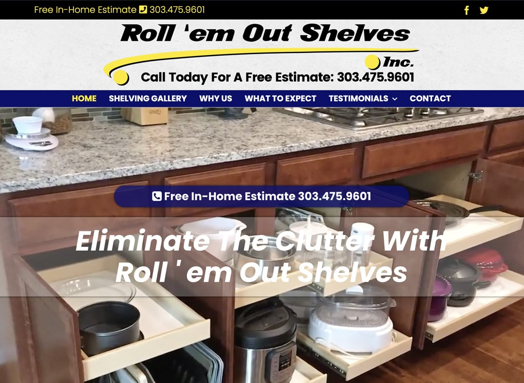 Roll 'em Out Shelves Small Business Website Project